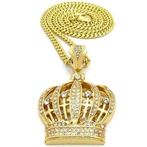 18k Gold Iced Out Cuban Chain w/ Crown Pendant